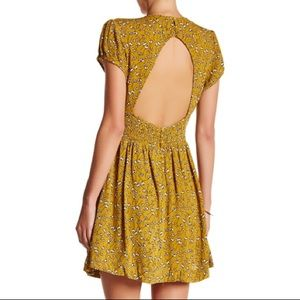 Free People NWOT rayon mini dress in chartreuse